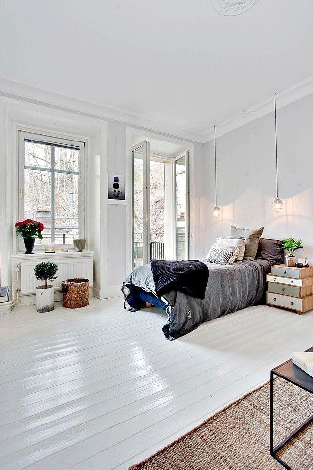 comment peindre un parquet en blanc style scandinave chambre