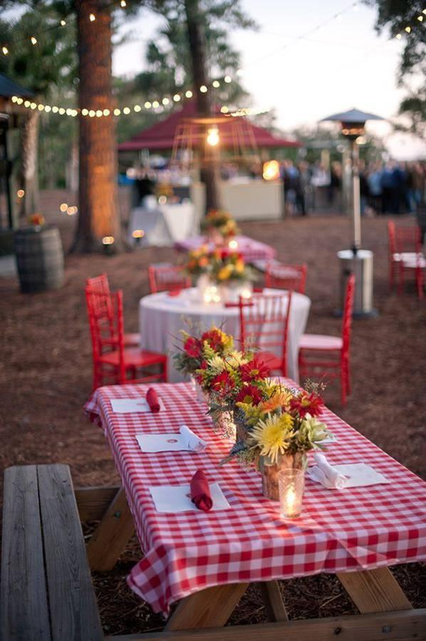 mariage champêtre déco vichy motif table pique nique