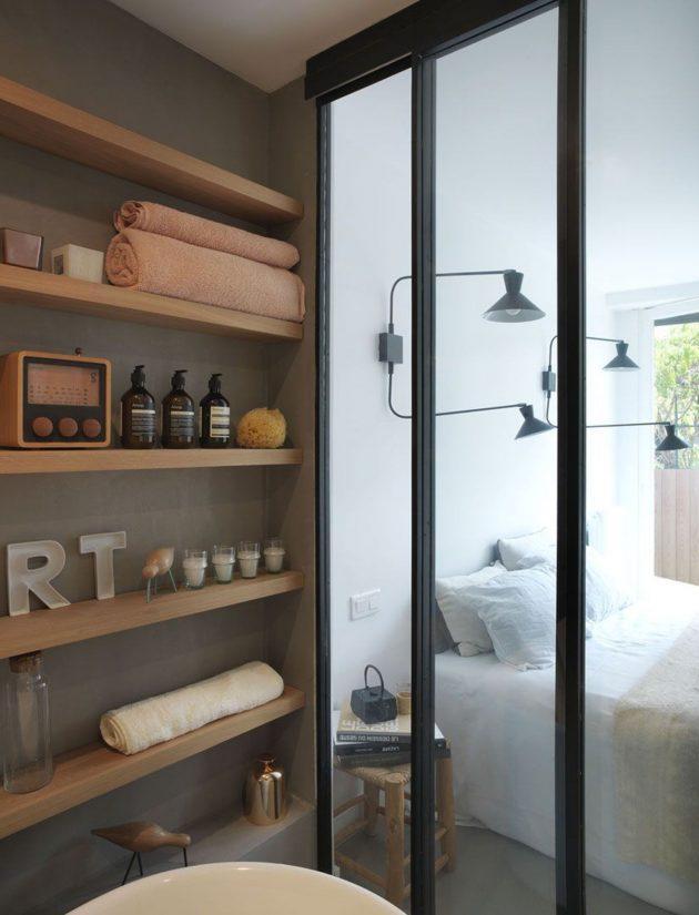 deco masculine et scandinave salle de bain avec verriere