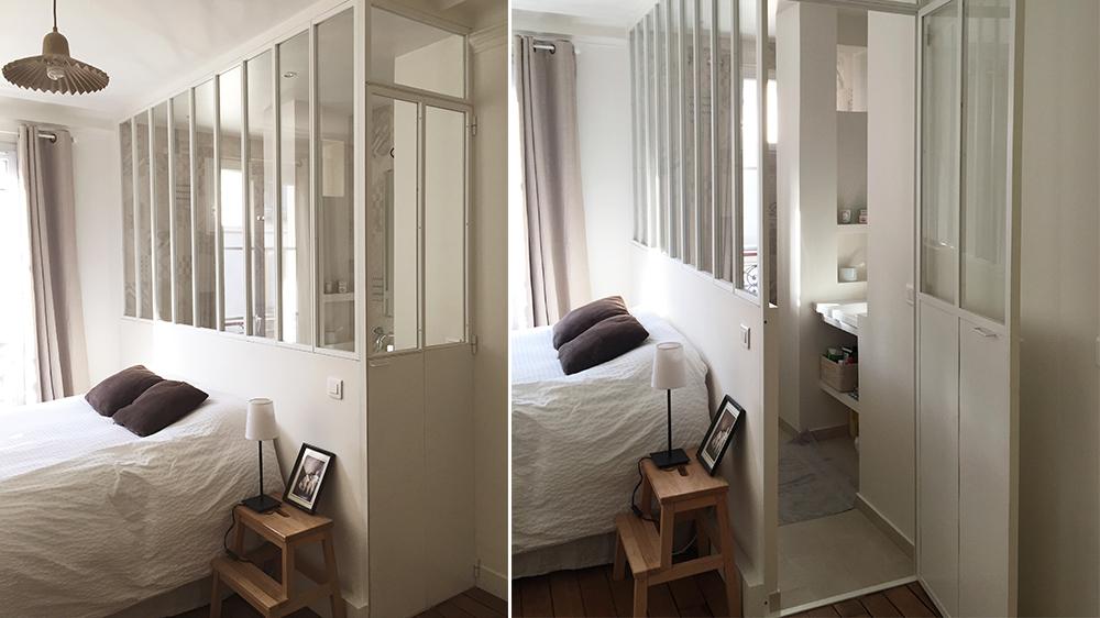 salle de bain avec verriere atelier blanche