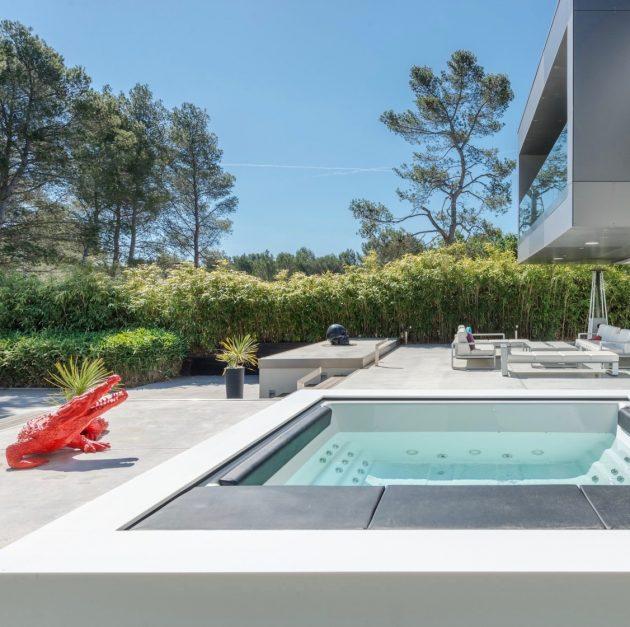 déco extérieure jaccuzi maison beton villa