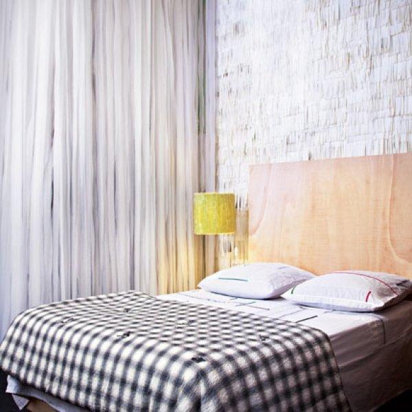deco vichy chambre adulte en noir et blanc loft