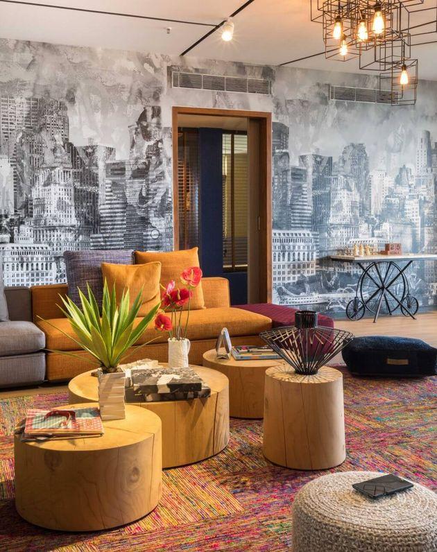 salon multicolore sejour appartement melange de style