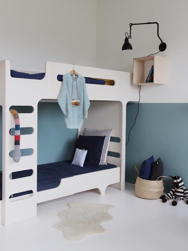 chambre enfant lit superposé déco style minimaliste