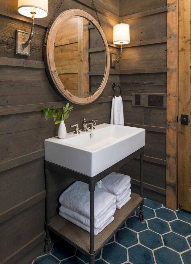 intérieur bois salle de bain de chalet