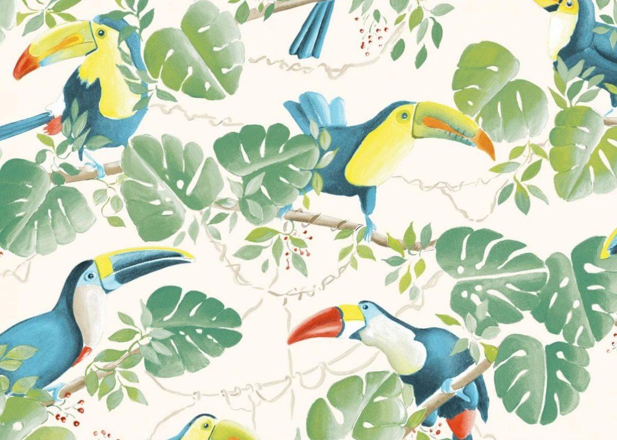 déco toucan tissus meuble style jungle vintage retro