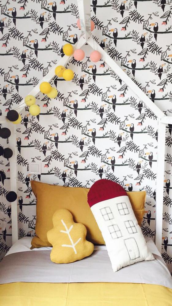 déco toucan papier peint chambre enfant jungle