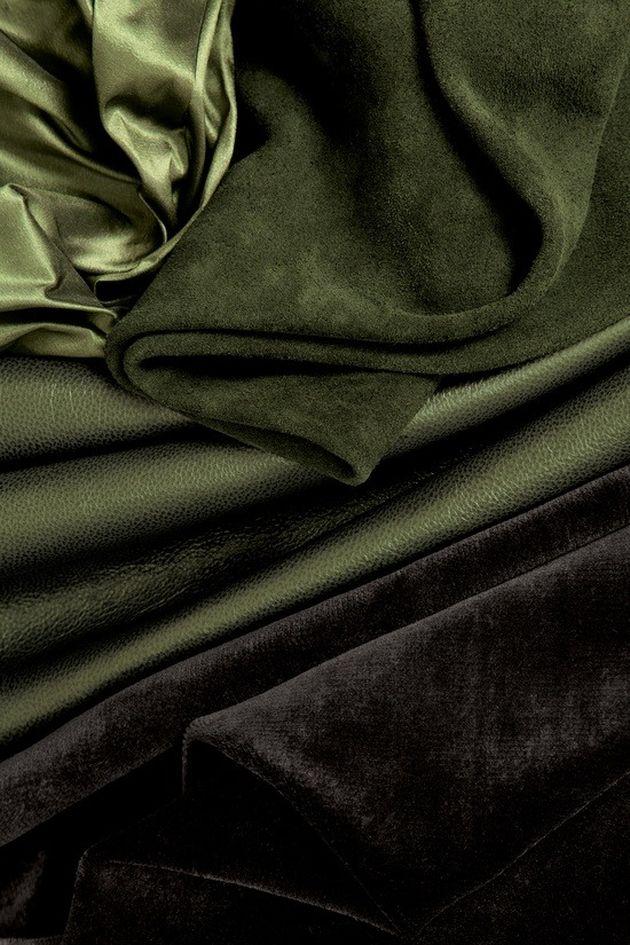 vert kaki soie cuir velours