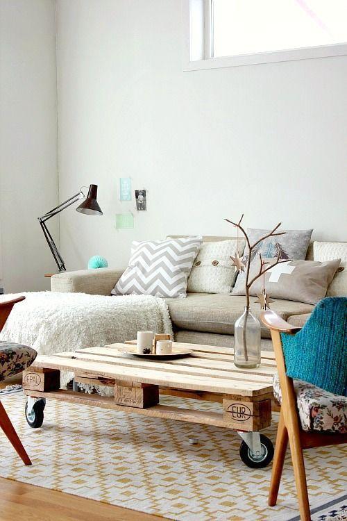 salon cosy avec table deco avec palettes diy