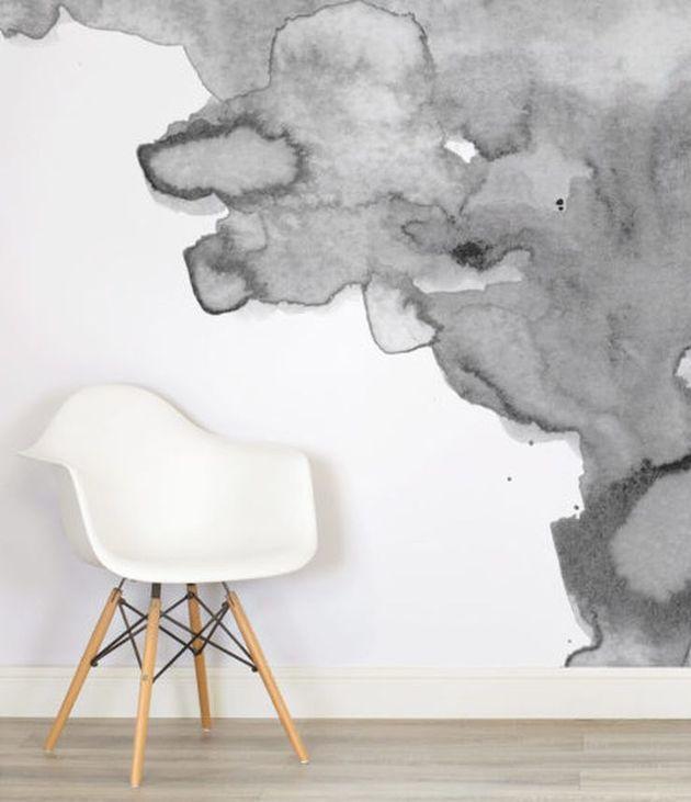 mur aquarelle gris et blanc