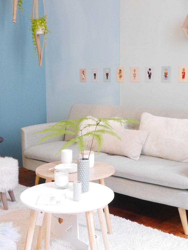 meubles but en vidéos salon scandinave moderne mauve bleu