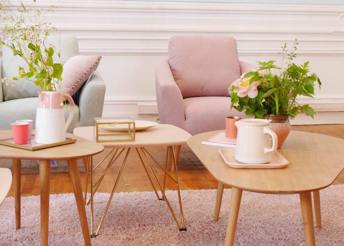 nouvelle collection but salon pastel rose scandinave