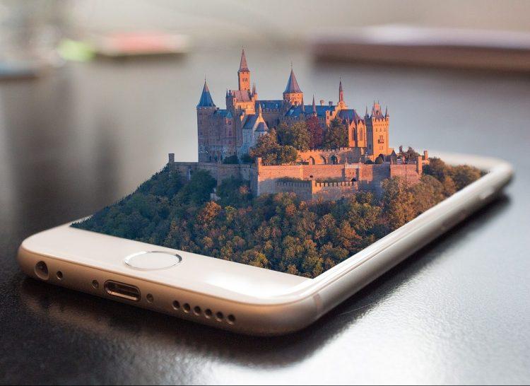 iphone chateau moyen age 3d architecture hologramme