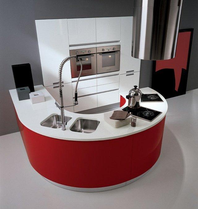 cuisine blanche et rouge ronde design