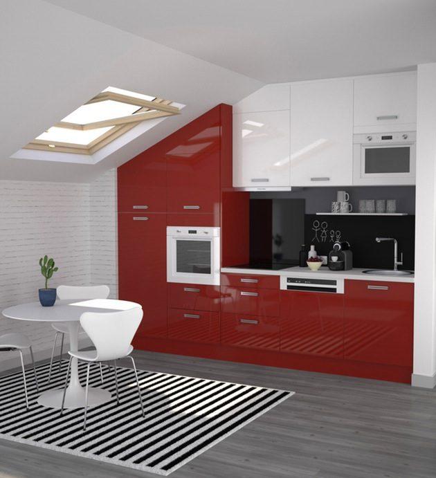 cuisine blanche et rouge peinture laquee