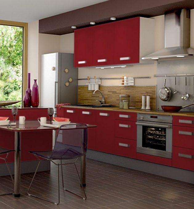 cuisine blanche et rouge mat ouverte