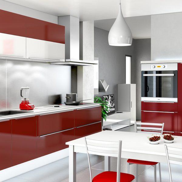 cuisine blanche et rouge design moderne brillante