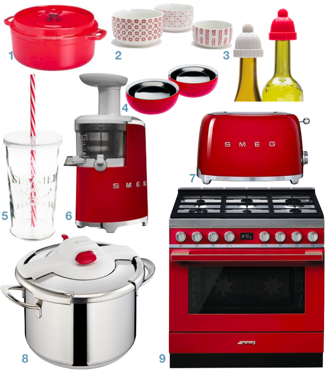 cuisine blanche et rouge pour decorer