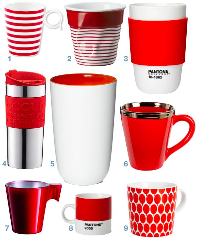 deco cuisine blanche et rouge tasse mug
