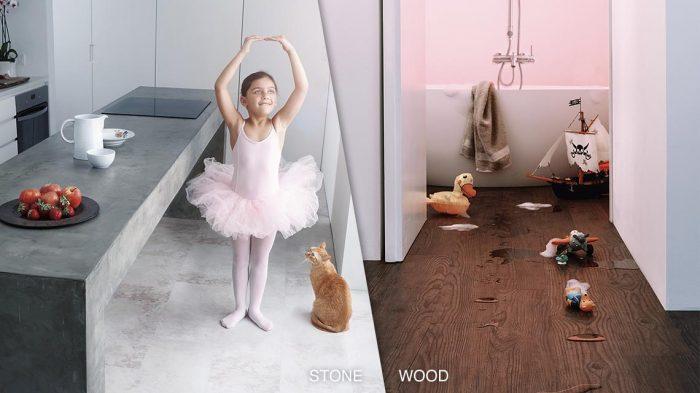 sol en liège décoratif pour cuisine et salle de bain