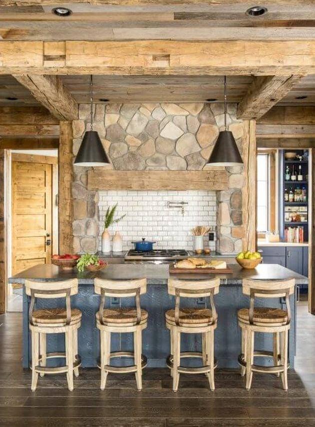 intérieur bois cuisine de chalet alpin