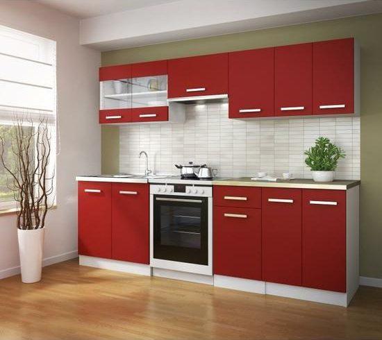 cuisine blanche et rouge brillante moderne