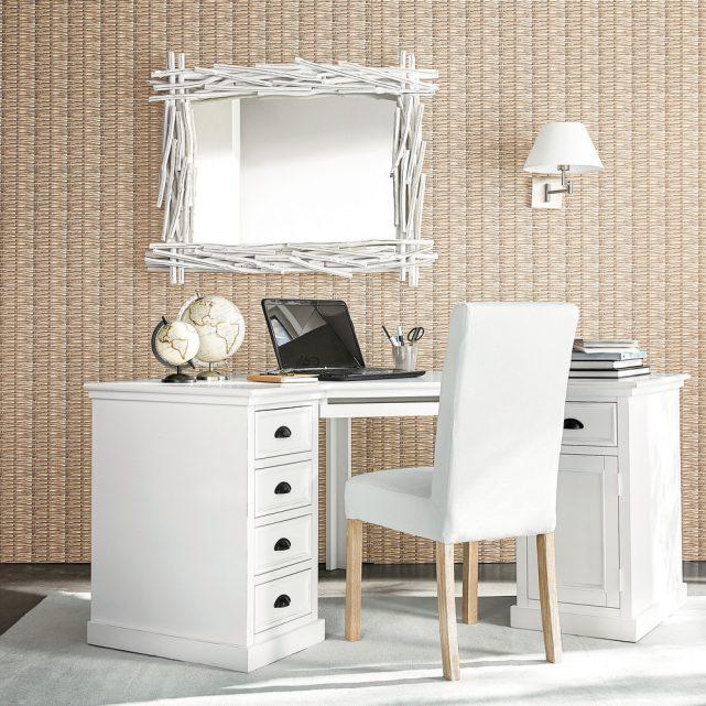 bureau en L avec rangement vintage blanc tiroirs en sapin classique maison du monde