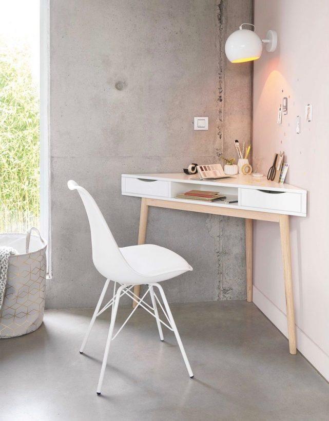 espace travail chambre ado table triangle gain de place