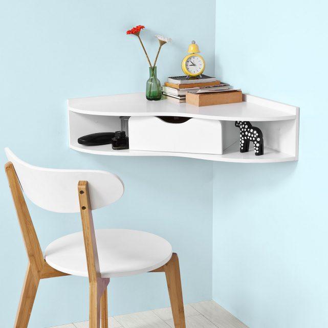 table angle avec rangement étagère gain place pour travailler - blog déco