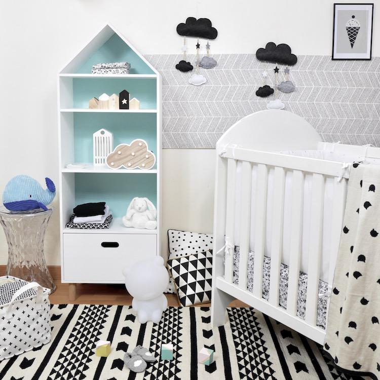 déco chambre bébé en noire et blanche style scanidinave