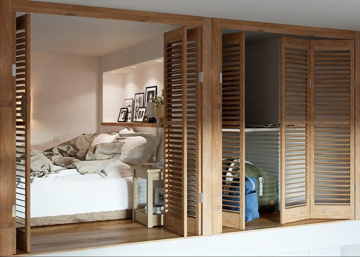 studio duplex chambre cocon en bois arbre