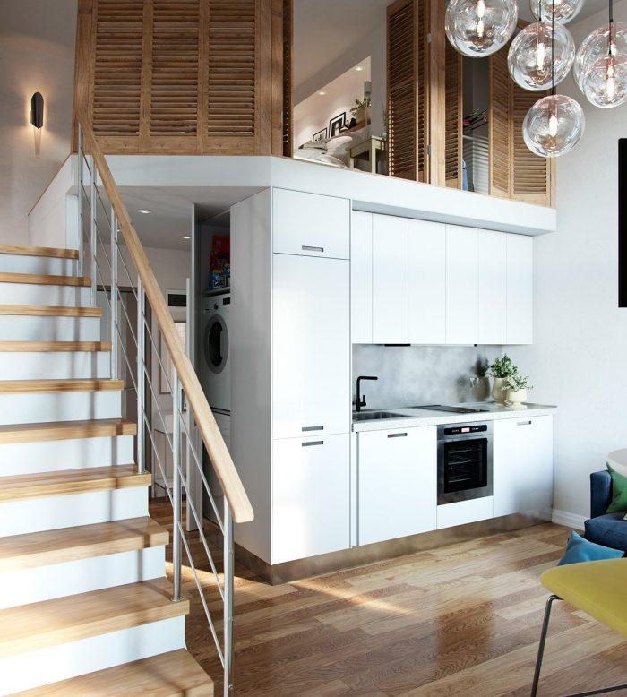 studio duplex cuisine ouverte industrielle blanche