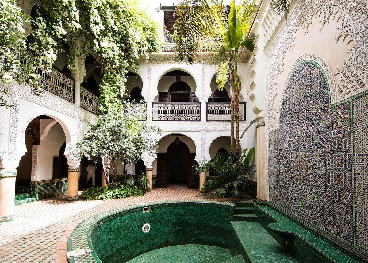 maison marocaine piscine vert blog deco
