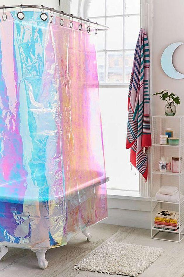 beau rideau de douche colore irise iridescent blog deco salle de bain