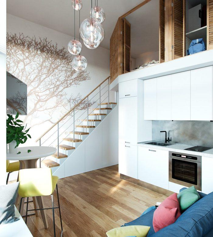 comment aménager un escalier placard dans un studio duplex