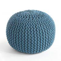 idées cadeaux femme pouf tricot laine tresse bleu canard