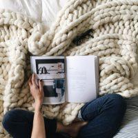 plaid tricot geant blanc casse laine idées cadeaux femme noel