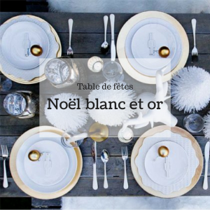 table de fête noël around the corner blanc et or
