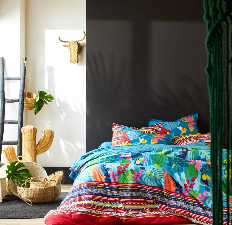 lab blancheporte chambre jungle tropical bleu canard ado
