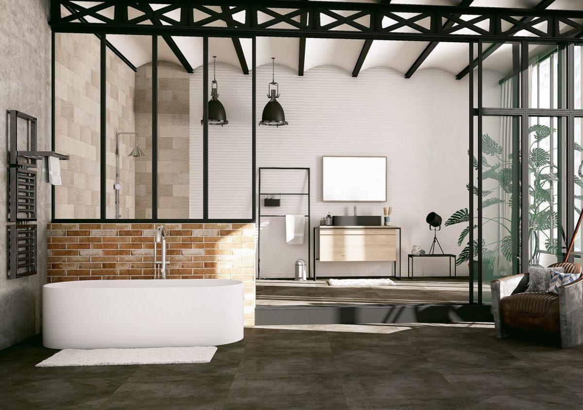 envie de salle de bain industrielle brique beton verriere