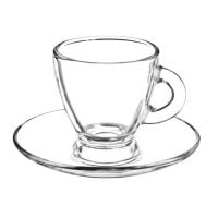 tasse et soucoupe en verre