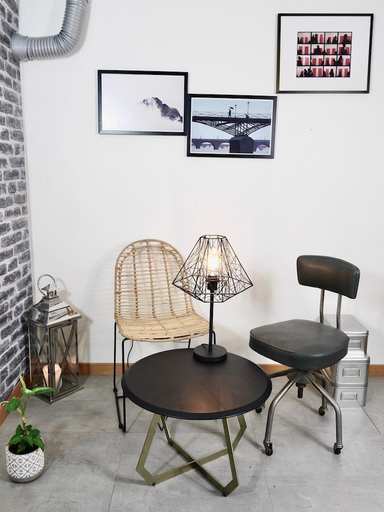 salon style industriel idee deco vintage