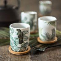 4 tasses et soucoupes en porcelaine tropical