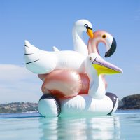 bouee gonflable luxe flamant rose doree sunnylife