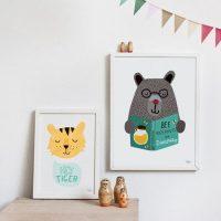idées cadeaux enfant affiche animaux scandinave ourson tigrou tigre