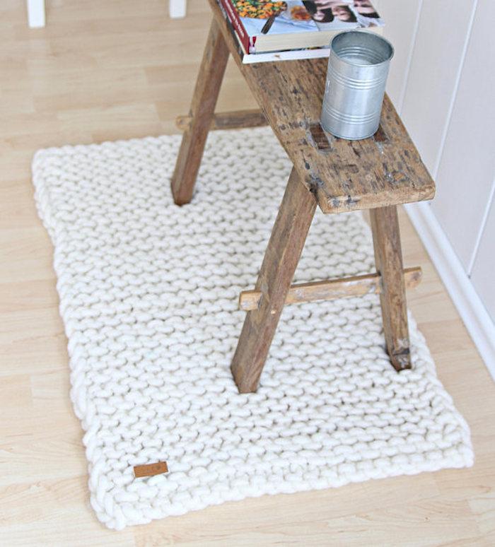 tapis blanc deco tricot