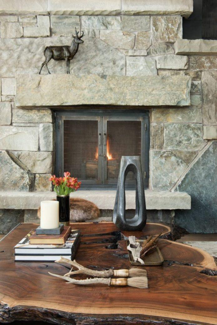 visite deco loft chalet table basse rondin de bois