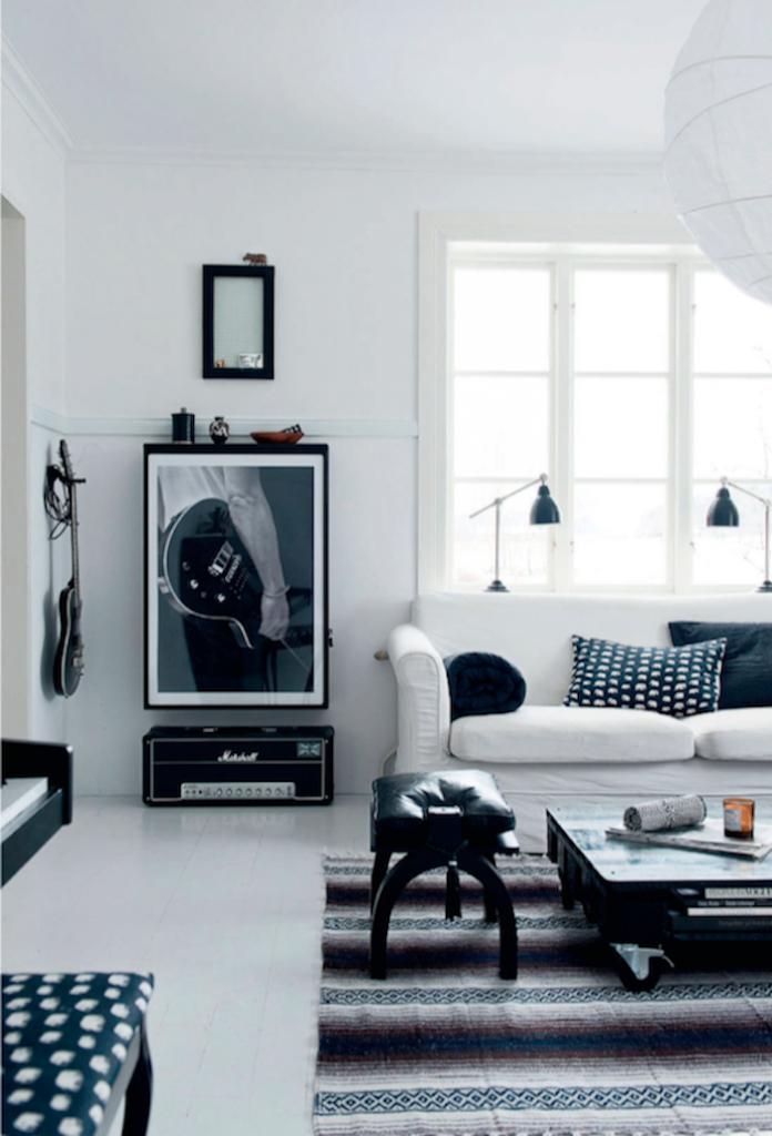interieur salon maison noir et blanche