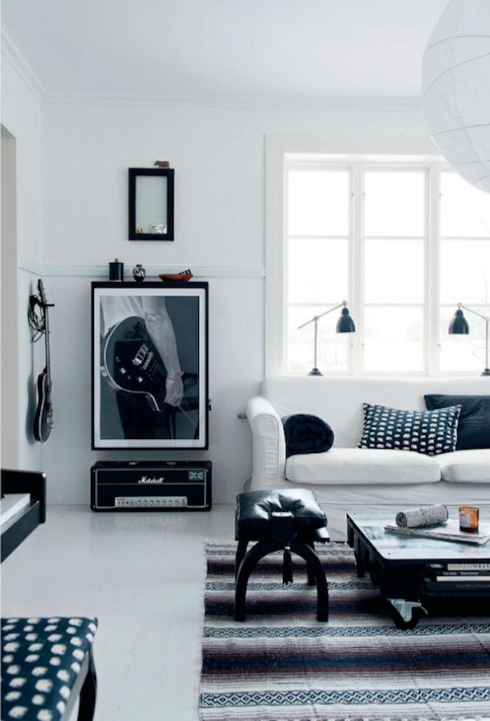 interieur salon maison noir et blanc