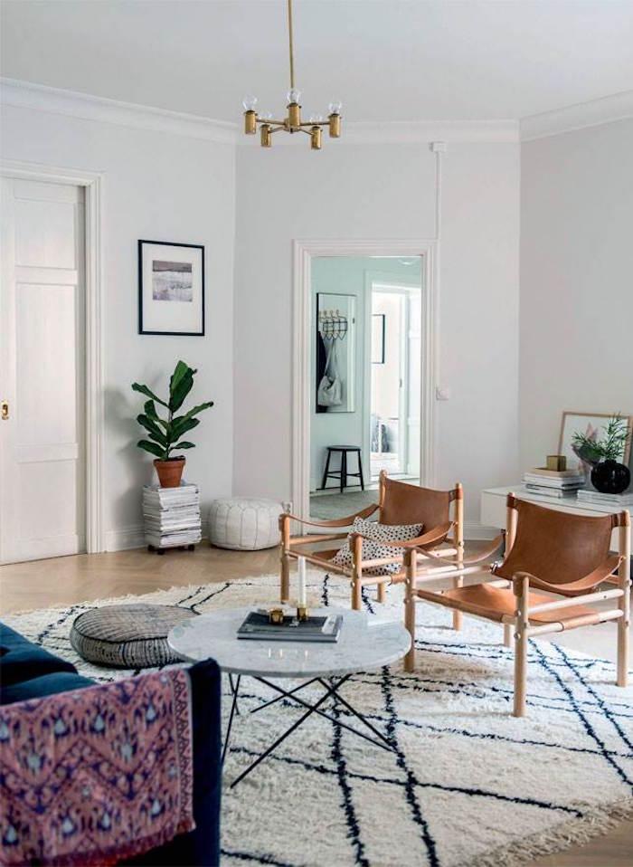 appartement familial suédois salon retro scandi japonais